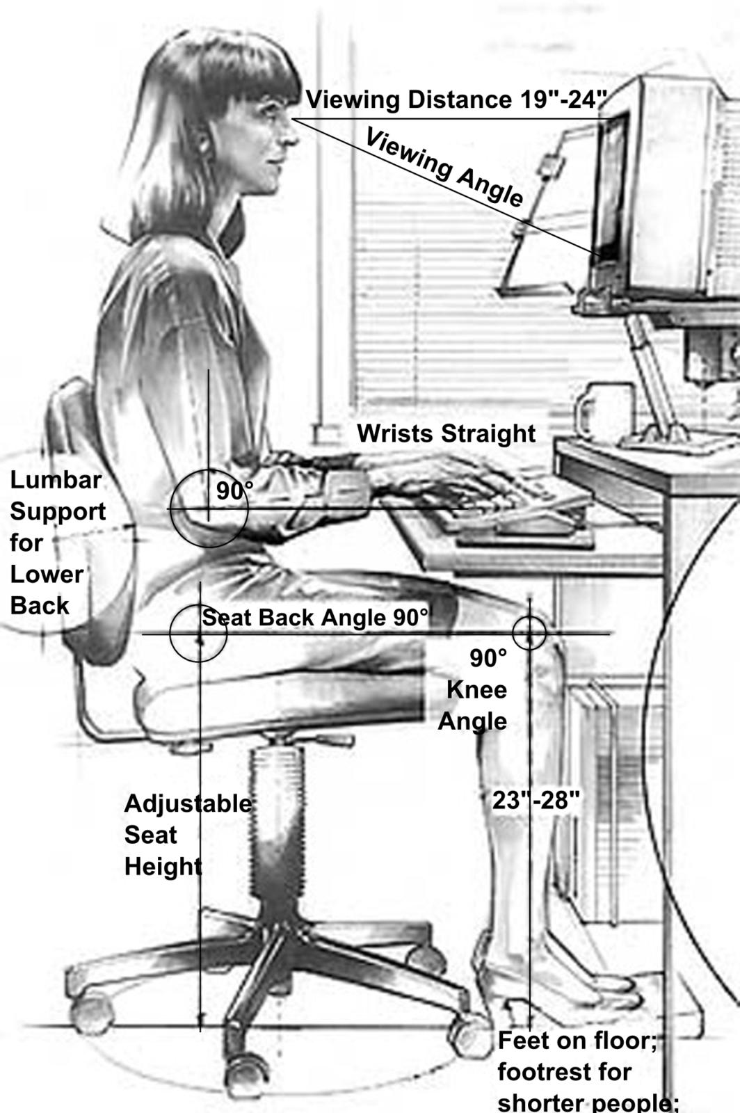 Correct posture at workstation